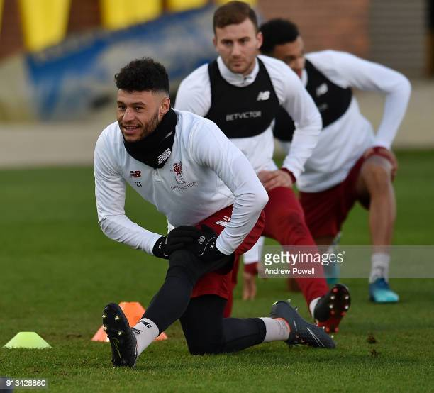 Alex OxladeChamberlain of Liverpool during a training session at Melwood Training Ground on February 2 2018 in Liverpool England