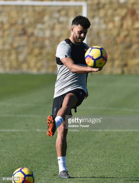 Alex OxladeChamberlain of Liverpool during a training session at Marbella Football Center on February 17 2018 in Marbella Spain