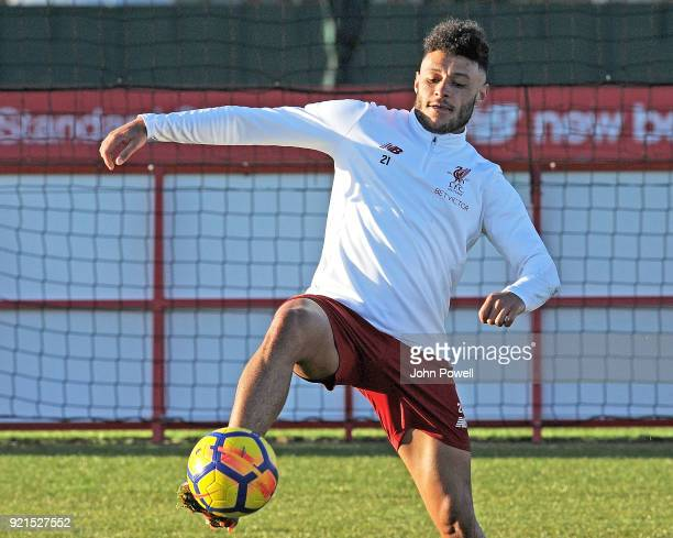 Alex OxladeChamberlain of Liverpool during a training session at Melwood Training Ground on February 20 2018 in Liverpool England