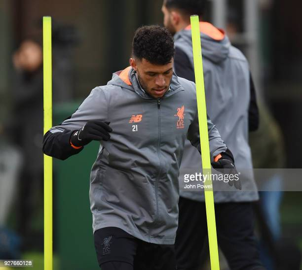 Alex OxladeChamberlain of Liverpool during a training session at Melwood Training Ground on March 5 2018 in Liverpool England