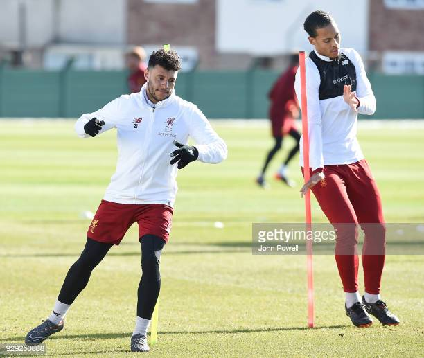 Alex OxladeChamberlain of Liverpool during a training session at Melwood Training Ground on March 8 2018 in Liverpool England