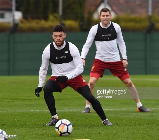 Alex OxladeChamberlain of Liverpool during a training session at Melwood Training Ground on April 12 2018 in Liverpool England
