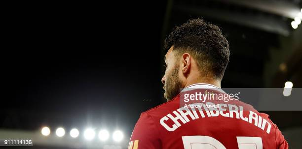 Alex OxladeChamberlain of Liverpool during The Emirates FA Cup Fourth Round match between Liverpool and West Bromwich Albion at Anfield on January 27...