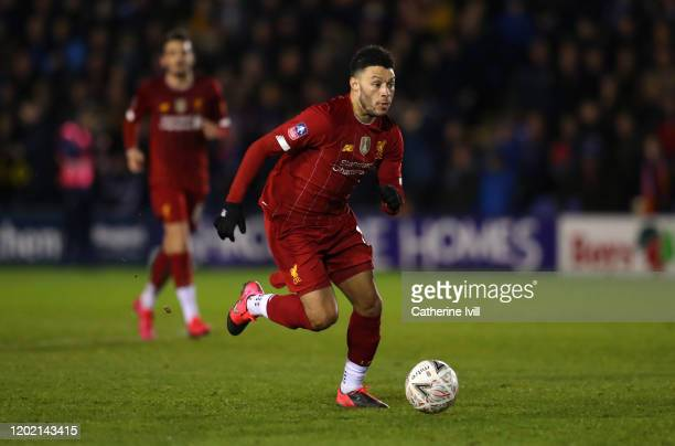 Alex OxladeChamberlain of Liverpool during the FA Cup Fourth Round match between Shrewsbury Town and Liverpool at New Meadow on January 26 2020 in...