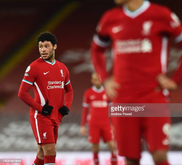Alex Oxlade-Chamberlain of Liverpool during the Premier League match between Liverpool and Chelsea at Anfield on March 04, 2021 in Liverpool,...