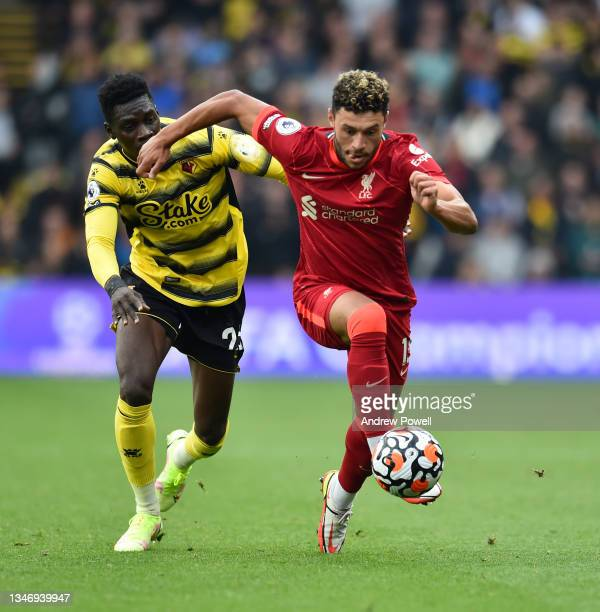 Alex Oxlade-Chamberlain of Liverpool during the Premier League match between Watford and Liverpool at Vicarage Road on October 16, 2021 in Watford,...
