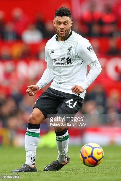 Alex OxladeChamberlain of Liverpool during the Premier League match between Manchester United and Liverpool at Old Trafford on March 10 2018 in...
