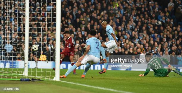 Alex Oxladechamberlain of Liverpool during the UEFA Champions League Quarter Final Second Leg match between Manchester City and Liverpool at Etihad...