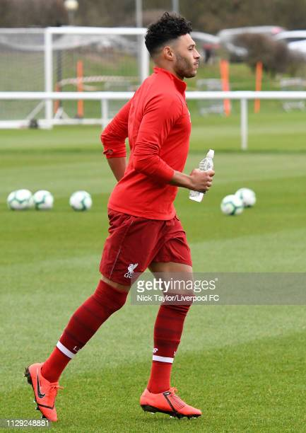 Alex OxladeChamberlain of Liverpool during the warmup before the PL2 game at Derby County Training Ground on March 8 2019 in Derby England