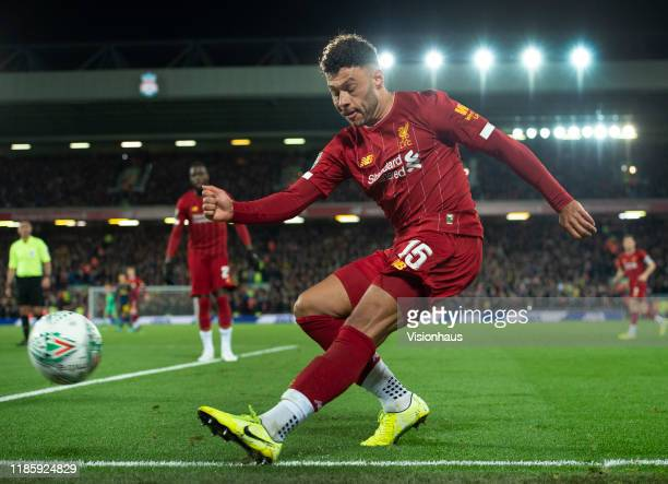 Alex OxladeChamberlain of Liverpool in action during the Carabao Cup Fourth Round match between Liverpool and Arsenal at the Anfield Stadium on...