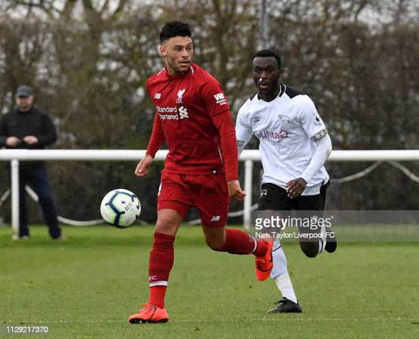 Alex OxladeChamberlain of Liverpool in action during the PL2 game at Derby County Training Ground on March 8 2019 in Derby England