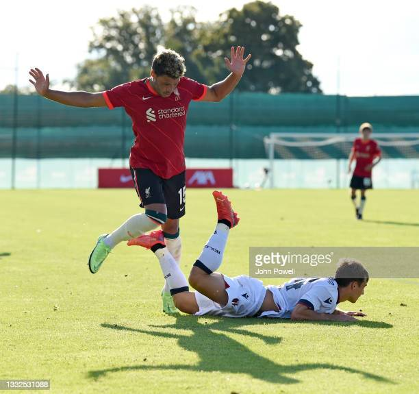 Alex Oxlade-Chamberlain of Liverpool in action during the Pre Season match between Liverpool and Bologna on August 05, 2021 in Evian-les-Bains,...