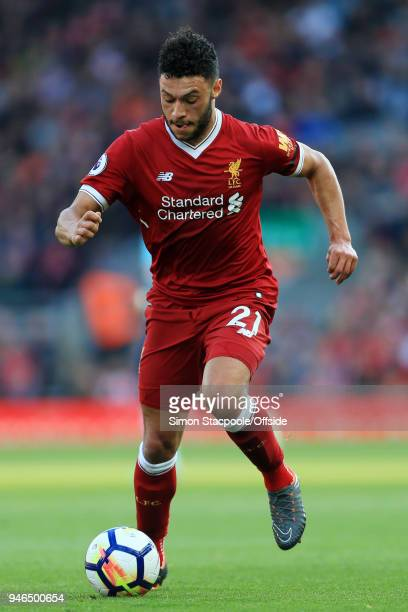 Alex OxladeChamberlain of Liverpool in action during the Premier League match between Liverpool and AFC Bournemouth at Anfield on April 14 2018 in...
