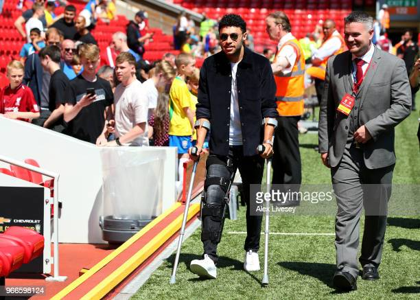 Alex OxladeChamberlain of Liverpool is seen arriving at the stadium prior to the International Friendly match between Croatia and Brazil at Anfield...