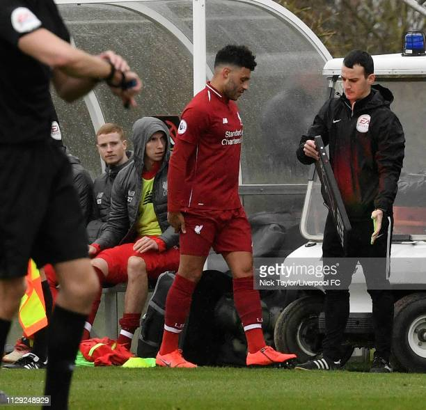 Alex OxladeChamberlain of Liverpool leaves the field after 40 minutes of the PL2 game at Derby County Training Ground on March 8 2019 in Derby England
