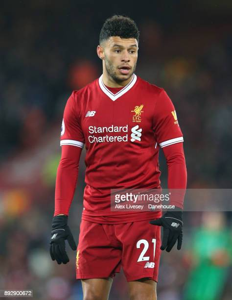 Alex OxladeChamberlain of Liverpool looks on during the Premier League match between Liverpool and West Bromwich Albion at Anfield on December 13...