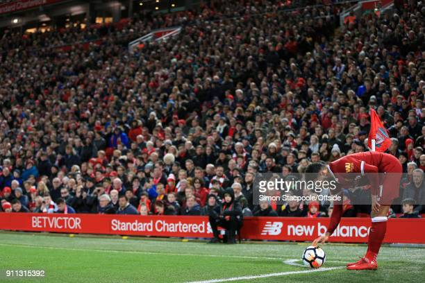 Alex OxladeChamberlain of Liverpool places the ball for a corner during The Emirates FA Cup Fourth Round match between Liverpool and West Bromwich...
