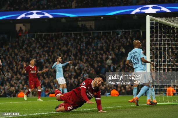 Alex OxladeChamberlain of Liverpool reacts after missing a chance on goal during the UEFA Champions League Quarter Final Second Leg match at Etihad...