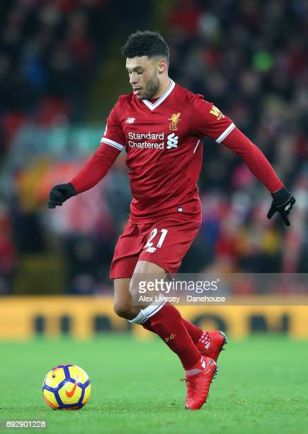 Alex OxladeChamberlain of Liverpool runs with the ball during the Premier League match between Liverpool and West Bromwich Albion at Anfield on...