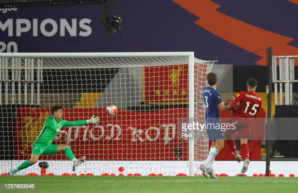 Alex OxladeChamberlain of Liverpool scores his team's fifth goal during the Premier League match between Liverpool FC and Chelsea FC at Anfield on...
