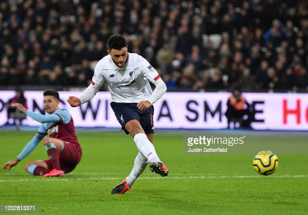 Alex Oxlade-Chamberlain of Liverpool scores his team's second goal during the Premier League match between West Ham United and Liverpool FC at London...