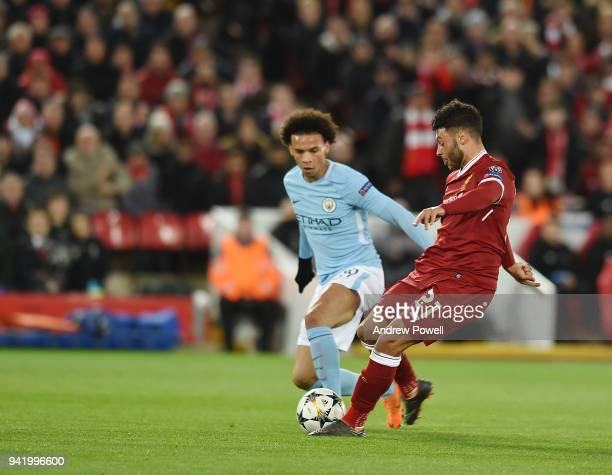 Alex OxladeChamberlain of Liverpool Scores the second during the UEFA Champions League Quarter Final Leg One match between Liverpool and Manchester...