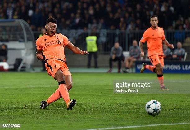 Alex OxladeChamberlain of Liverpool scores the sixth goal during the UEFA Champions League group E match between NK Maribor and Liverpool FC at...