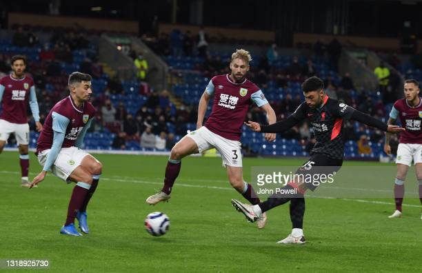 Alex Oxlade-Chamberlain of Liverpool scores the third goal making the score 0-3 during the Premier League match between Burnley and Liverpool at Turf...
