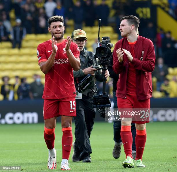 Alex Oxlade-Chamberlain of Liverpool showing his appreciation to the fans at the end of the Premier League match between Watford and Liverpool at...