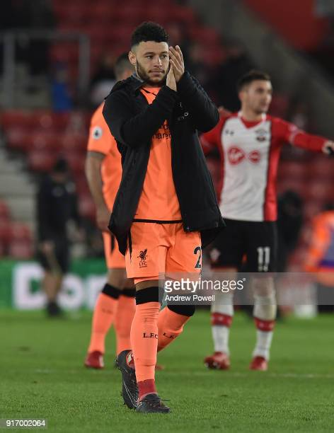 Alex OxladeChamberlain of Liverpool shows his appreciation to the fans at the end of the Premier League match between Southampton and Liverpool at St...