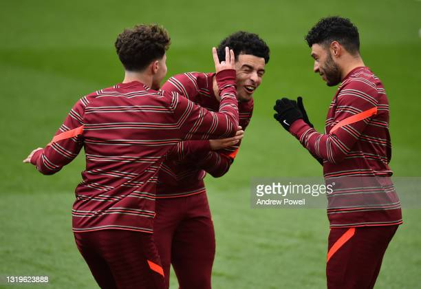 Alex Oxlade-Chamberlain of Liverpool with Curtis Jones of Liverpool during the Premier League match between Liverpool and Crystal Palace at Anfield...