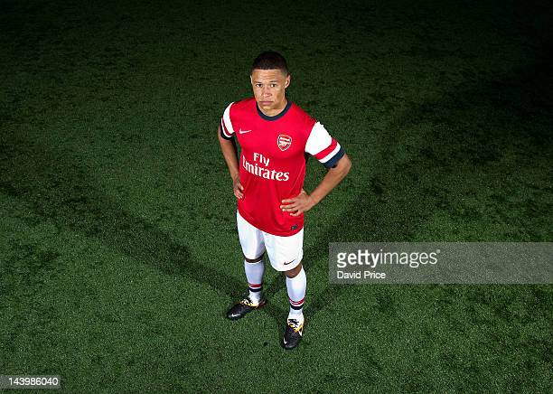 Alex OxladeChamberlain poses during a photoshoot for the new Arsenal home kit for season 2012/13 at London Colney on April 5 2012 in St Albans England