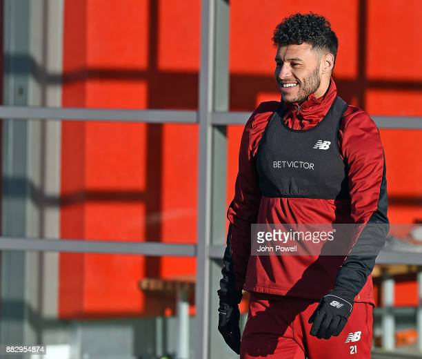 Alex OxladeCharmberlain of Liverpool during a training session at Melwood Training Ground on November 30 2017 in Liverpool England