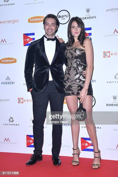 Alex Pacifico and Francesca Sofia Novello attend the Alessandro Martorana Party on January 28 2018 in Milan Italy