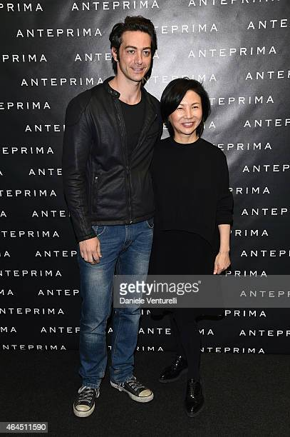 Alex Pacifico and Izumi Ogino attend the Anteprima show during the Milan Fashion Week Autumn/Winter 2015 on February 26 2015 in Milan Italy