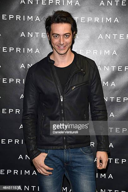 Alex Pacifico attends the Anteprima show during the Milan Fashion Week Autumn/Winter 2015 on February 26 2015 in Milan Italy