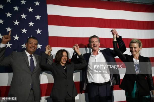 Alex Padilla California secretary of state from left Senator Kamala Harris a Democrat from California Gavin Newsom Democratic candidate for governor...