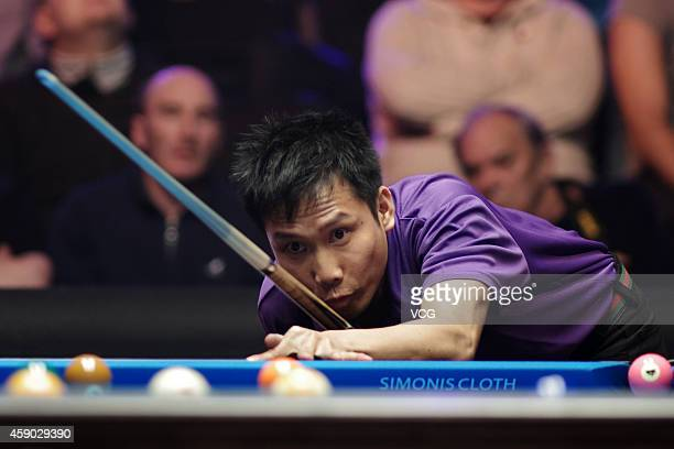Alex Pagulayan of Canada in action against Darren Appleton of Great Britain on day one of the Partypoker World Pool Masters 2014 at Portland Centre...