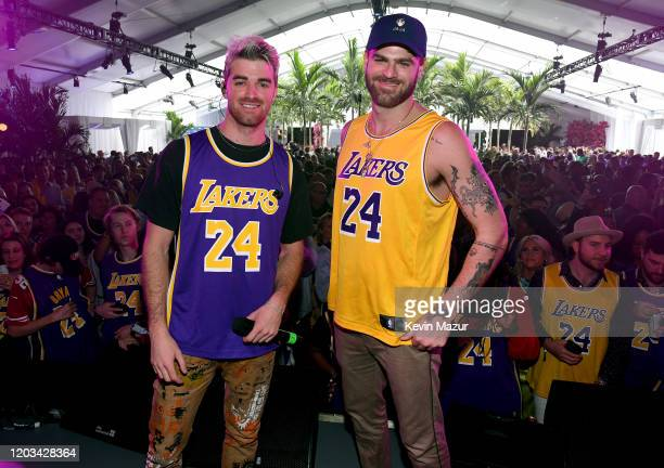 Alex Pall and Andrew Taggart attend Michael Rubin's Fanatics Super Bowl Party at Loews Miami Beach Hotel on February 01 2020 in Miami Beach Florida
