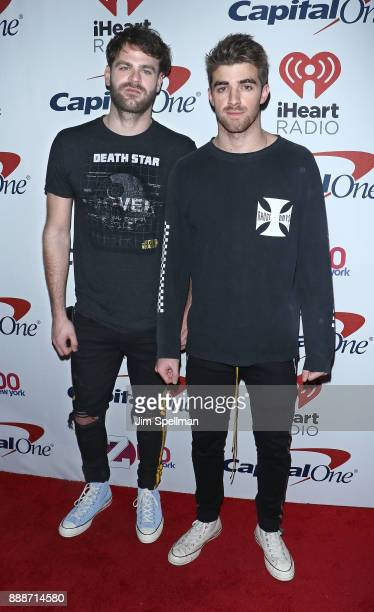 Alex Pall and Andrew Taggart from The Chainsmokers attend the Z100's iHeartRadio Jingle Ball 2017 at Madison Square Garden on December 8 2017 in New...