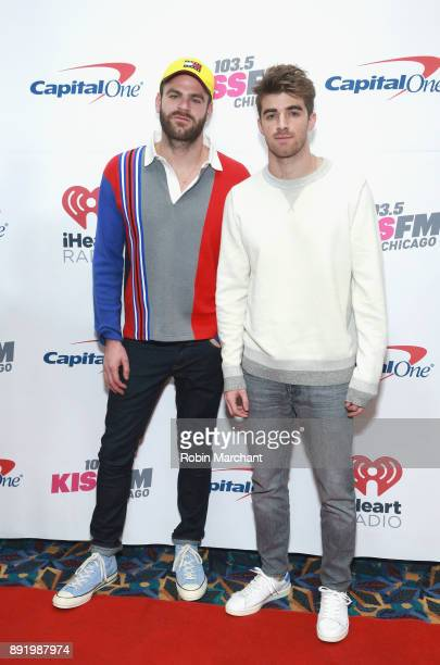 Alex Pall and Andrew Taggart of Chainsmokers attend 1035 KISS FM's iHeartRadio Jingle Ball 2017 on December 13 2017 in Rosemont Illinois