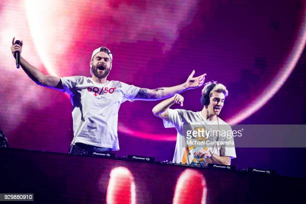 Alex Pall and Andrew Taggart of the American DJ duo The Chainsmokers perform in concert at Tele2 Arena on March 9 2018 in Stockholm Sweden