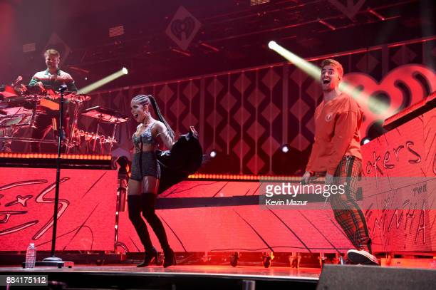 Alex Pall and Andrew Taggart of The Chainsmokers and Halsey perform onstage during 1027 KIIS FM's Jingle Ball 2017 presented by Capital One at The...