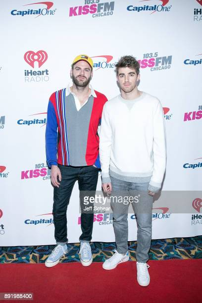 Alex Pall and Andrew Taggart of The Chainsmokers attend 1035 KISS FM's iHeartRadio Jingle Ball 2017 on December 13 2017 in Chicago Illinois