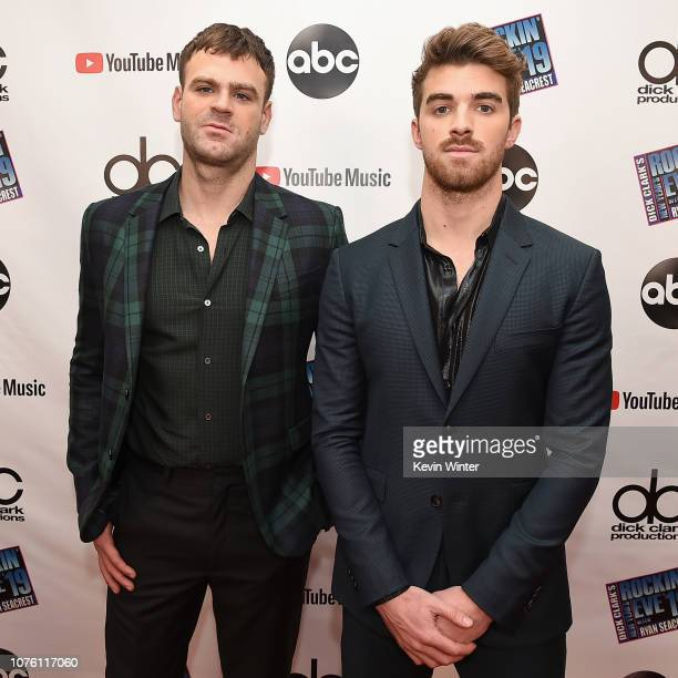 Alex Pall and Andrew Taggart of The Chainsmokers attend Dick Clark's New Year's Rockin' Eve With Ryan Seacrest 2019 on December 31 2018 in Los...