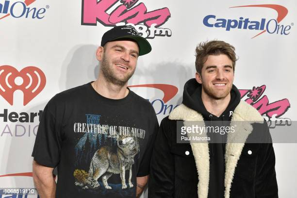 Alex Pall and Andrew Taggart of the Chainsmokers attend KISS 108's Jingle Ball 2018 at TD Garden on December 4 2018 in Boston Massachusetts