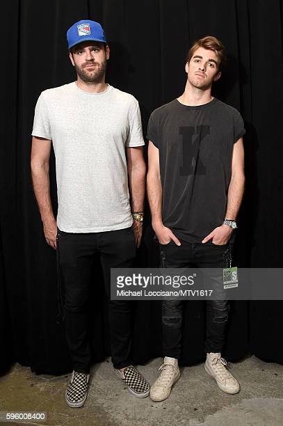 Alex Pall and Andrew Taggart of 'The Chainsmokers' attend the 2016 MTV Video Music Awards Rehearsals at Madison Square Garden on August 26 2016 in...