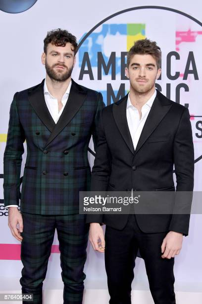 Alex Pall and Andrew Taggart of The Chainsmokers attend the 2017 American Music Awards at Microsoft Theater on November 19 2017 in Los Angeles...