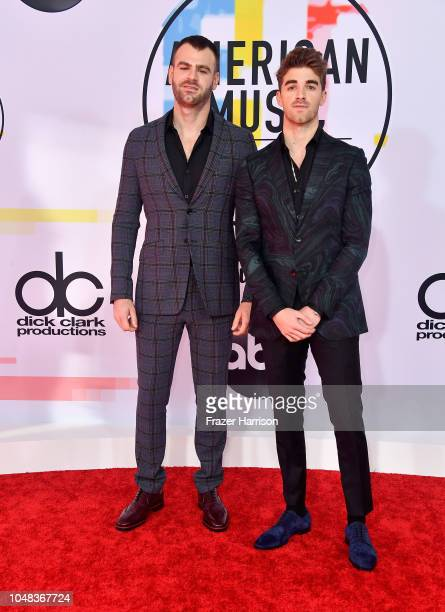 Alex Pall and Andrew Taggart of The Chainsmokers attend the 2018 American Music Awards at Microsoft Theater on October 9 2018 in Los Angeles...