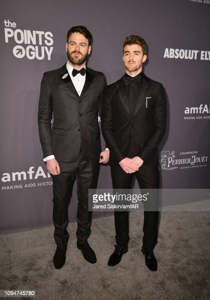 Alex Pall and Andrew Taggart of The Chainsmokers attend the amfAR New York Gala 2019 at Cipriani Wall Street on February 6 2019 in New York City